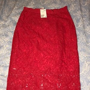 NWT RED LACE MIDI SKIRT 💃🏻